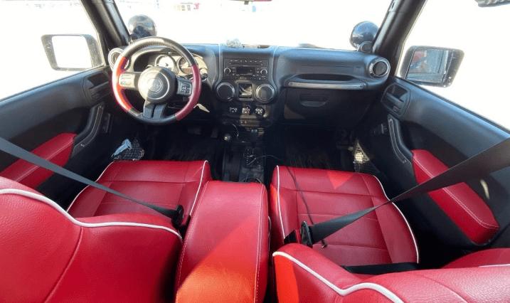 Red Jeep Wrandleg interior